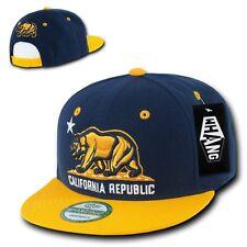 Navy Blue & Gold California Republic Cali Bear Flat Bill Snapback Snap Hat Cap