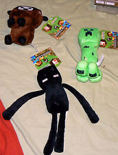 Lot of 3 Minecraft Plush Baby Cow, Creeper, Enderman Officially Licensed W/ Tags