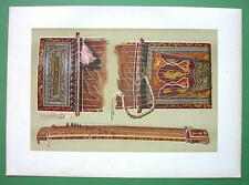 MUSIC INSTRUMENTS Japanese String Sono Koto - SUPERB Color Litho Print