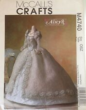 "Wedding Gown Pattern Fashion Doll 11 1/2"" Alicyn Bridal Dress Veil McCalls M4740"
