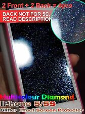 4 x iPhone5 5S Diamond Glitter Effect Screen Protector (2 Front & 2 Back)