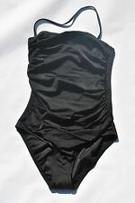 NEW J Crew Swimsuit Ruched Bandeau Tank Black Sz 0 Extra Small XS #10235