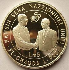 Malta 1995 50th Anniversary of UN 5 Pounds Silver Coin,Proof