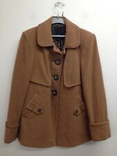 Betty Jackson Black - Tan Wool Blend Buttoned Coat Size Uk 16 (T273)