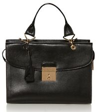 Marc Jacobs Black Leather Satchel Crossbody Bag black gold Zip shoulder Handbag