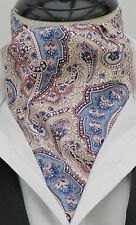 Mens Peach Coral & Pale Blue Paisley Ascot Cravat and Handkerchief - Made in UK