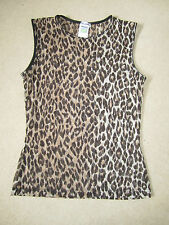 DOLCE & GABBANA - LEOPARD / ANIMAL PRINT SLEEVELESS SHEER TOP - SIZE 8 - USED