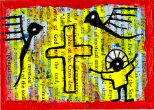 st john of the cross e9Art ACEO Angel Outsider Art Brut Painting Mystic Original