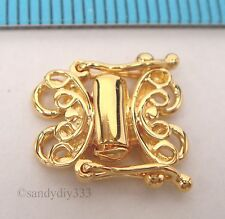 1x REAL 18K GOLD plated STERLING SILVER 2-STRAND BUTTERFLY BOX CLASP G005
