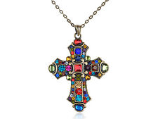 US Old Medieval Vintage Colorful Crystal Rhinestone Cross Pendant Necklace