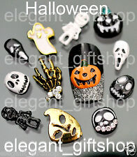 #EJW_15 Glitter Halloween Alloy Nail Art Tips Decoration Pumpkin Skull Mask