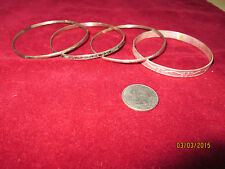 Vintage 4 piece Lot of Sterling Silver Bangle Bracelets Unique Mexican Variety