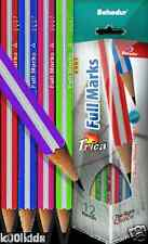 TRIANGULAR HANDWRITING PENCILS, SET OF SIX WITH FREE ERASER AND AND SHARPENER.