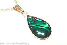 9ct Gold Green Abalone Paua Shell Pendant and Chain Gift Boxed Made in UK