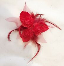 3 Rose Wrist Corsage Feather Lace Chiffon Bridal Bridesmaid Flower Hair Band Pin
