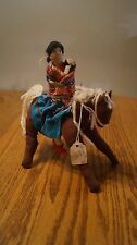 Vintage Handmade Cherokee- Indian Doll on Horse with baby  - VGC