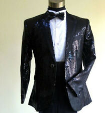 Mens Sequins Stage Coat Groom Suits Blazers Preside Outwear One Button Free P&P