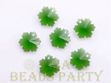 New 10pcs 14X7mm Snowflake Faceted Glass Pendant Loose Spacer Beads Bulk Green