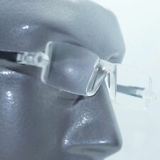 Reading Glasses No-See Frameless Lightweight Black Color Accent Sides +1.00