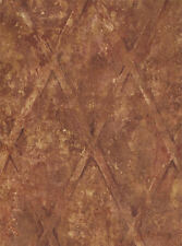 Large Diamond Lattice Wallpaper in Brown, Rust, Cream on Faux Background  TE2930