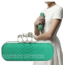 $2,490 ALEXANDER MCQUEEN BAG CRYSTAL KNUCKLE CLASP GREEN PYTHON CLUTCH