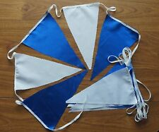 18ft BLUE satin / WHITE cotton FABRIC BUNTING FLAGS GARDENS WEDDINGS
