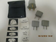 Universal Overseas Travel Adapters in travel pouch with instructions