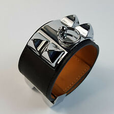 Genuine Leather Black Silver top quality bracelet Collier De Chien cuff bangle