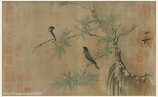 Chinese old scroll painting Song dynasty Finches on bamboo branch by Zhao Ji