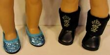 Blue Frozen Elsa Shoes & Black Anna Boots for 18 Inch American Girl Doll Clothes