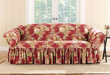 Sofa Red Sure Fit Ballad Bouquet One Piece box-cushion slip cover slipcover