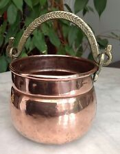 A Small VINTAGE Hand Hammered Copper Planter / Cauldron Shape BRASS SWING HANDLE