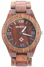BEWELL Holzuhr, rotes Sandelholz,Herrenuhr oder große Damenuhr,45mm,,A-Ware,Top