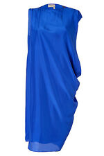 Lanvin Paris ete 2013 100% Silk Electronic Blue Dress T 38 US 6 Made in France