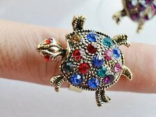 Wholesale Lots Animal Turtle 5PCS CZ Rhinestone Silver Plated Rings Jewelry FREE