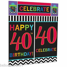 Celebration Happy 40th Birthday Party Scene Setter Wall Decorating Kit