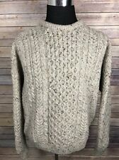 CARRAIG DONN Sweater Men's Extra Large L Oatmeal Irish Fisherman Cable Knit