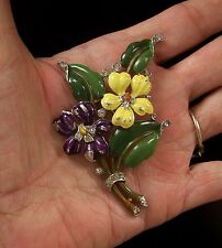 TRIFARI 'Alfred Philippe' Purple and Yellow Enamel Pansy Pin/Clip