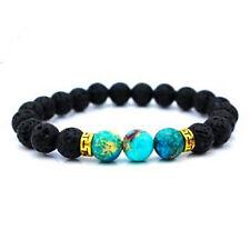 Fashion Men Women LAVA Rock Stone Blue Beads Bangle Yogo Stretch Chain Bracelet