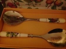 PORTMEIRION POMONA SALAD SERVERS STAINLESS STEEL SPOON & FORK NEW IN BOX