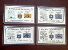 ACB Gold Silver Platinum Palladium 1GRAIN Bullion Bars Cert. of Authenticitys