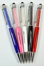 London girl Crystal Ball Point Pen Job Lot, Lot of 100 In 5 Colours, Black ink