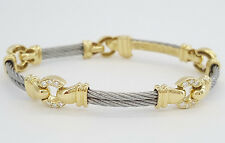 Philippe Charriol 18K Yellow Gold Stainless Steel & Round Diamond Cable Bracelet