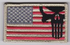 US Punisher Flag patch full hook backing tan/red/blue - NOT FROM CHINA!!