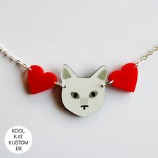KITTY LOVE Kette für Katzen Fans! Halskette Katze Cat Necklace Acryl Lasercut