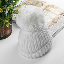 New Womens Winter Warm Wool Cable Knitted Slouch Beanie Baggy Cap Bobble Pom Hat