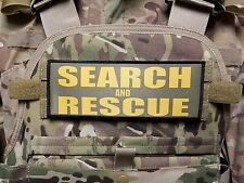 "3x8"" SEARCH AND RESCUE Hi Viz Gold on OD Green Tactical Hook Morale Patch"