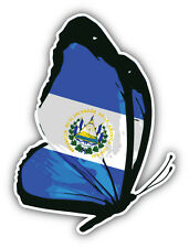 El Salvador Flag Butterfly Car Bumper Sticker Decal 4'' x 5''