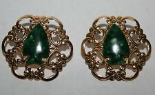 Green Arrowhead Arrow Head Tin Metal Victorian Lace Pierced Ear Earring Gold Tn.