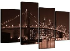 Large Brown New York Canvas Wall Art Pictures Manhattan Brooklyn 4122